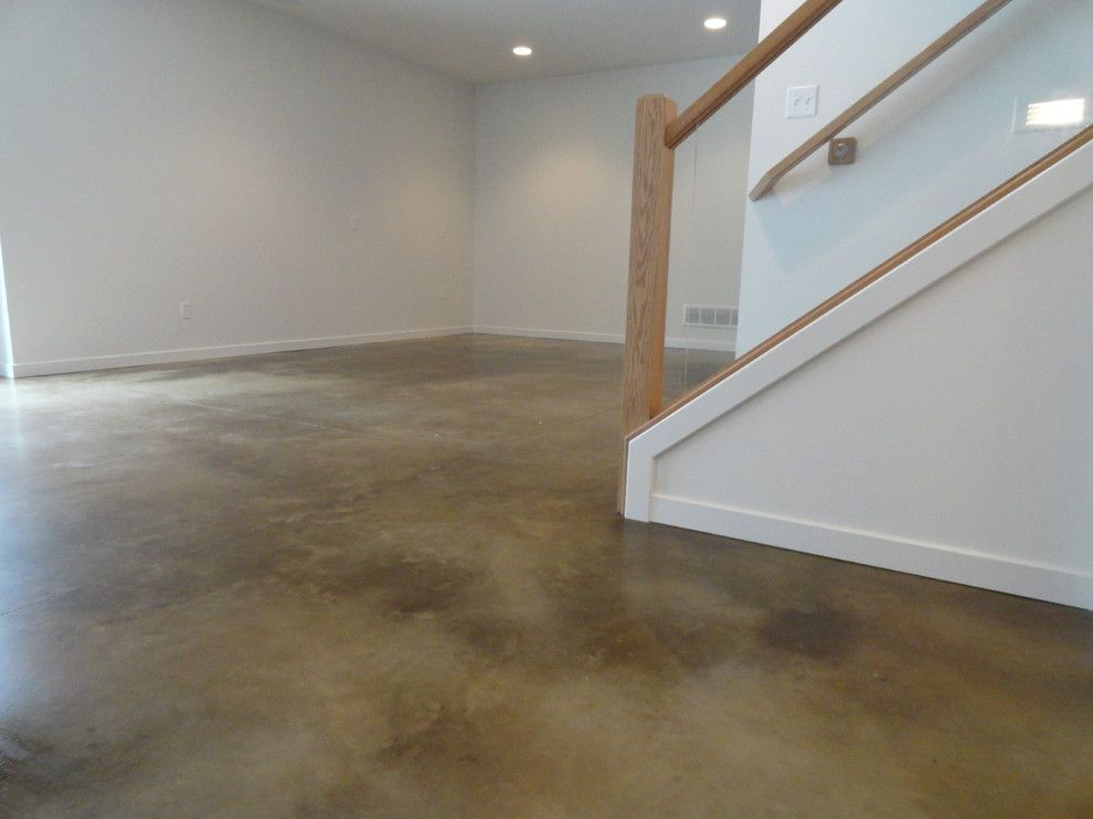 How to Stain Concrete Floors for a Modern Basement with a Stained Basement Floor and Stained Concrete Basement Floor by Dancer Concrete Design