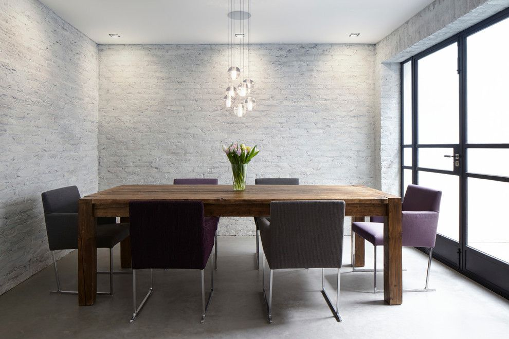 How to Whitewash Brick for a Contemporary Dining Room with a Emperors Gate South Kensington and Emperors Gate, South Kensington, London by Dyer Grimes Architecture