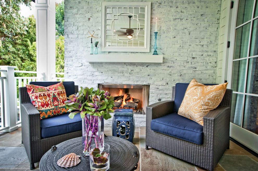How to Whitewash Brick for a Contemporary Patio with a White Fireplace Ledge and Breezy Brentwood by Jill Wolff Interior Design
