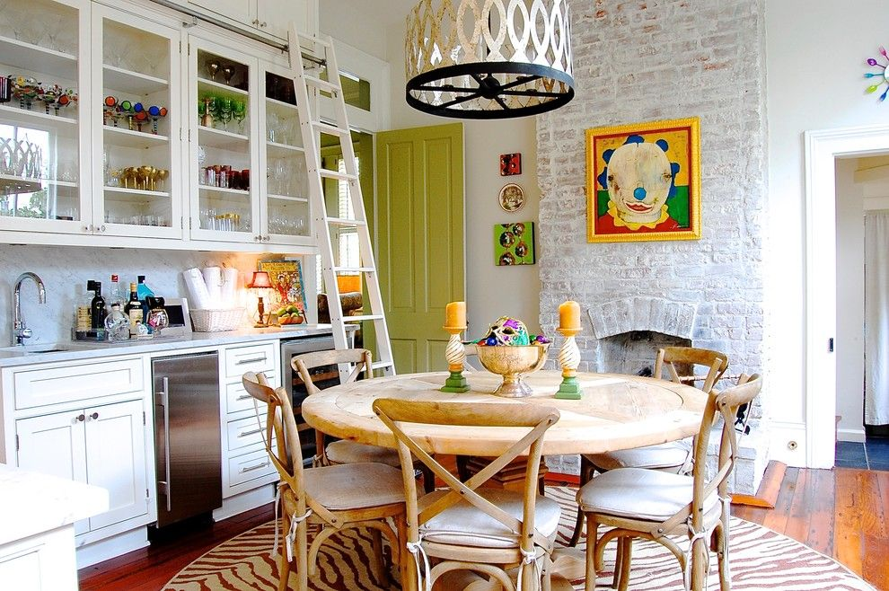 How to Whitewash Brick for a Eclectic Kitchen with a Rustic Wood Floor and My Houzz: Colorful Eclectic Style in a Traditional New Orleans Home by Corynne Pless