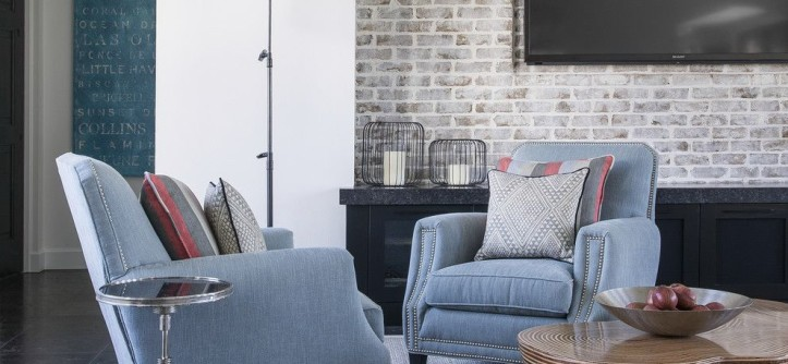 How to Whitewash Brick for a Eclectic Living Room with a Light Blue Chairs and Living Room by Wolfe Rizor Interiors