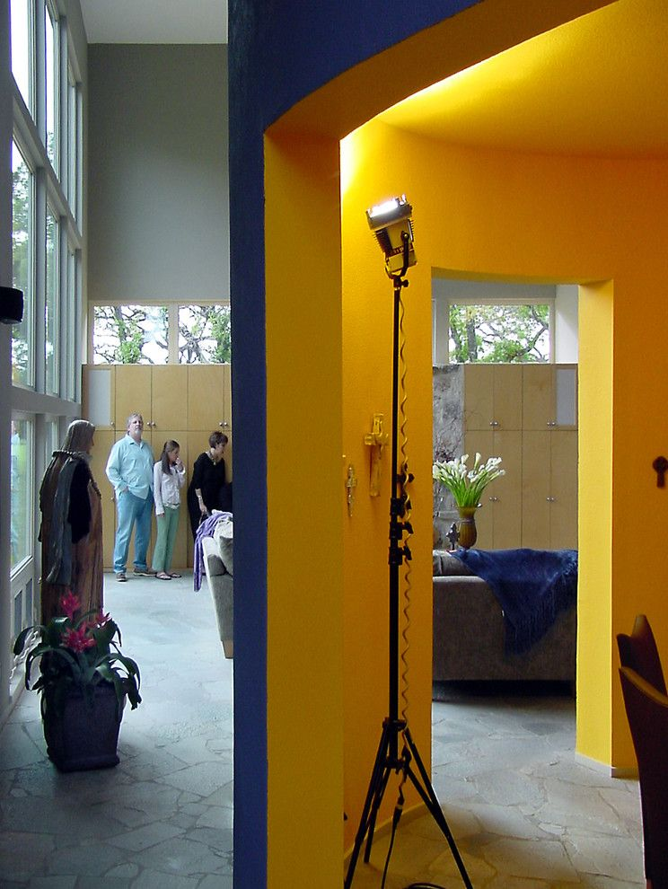 Humara for a Modern Living Room with a Stone Floor and Modern Hacienda by Ignacio Salas Humara Architect Llc