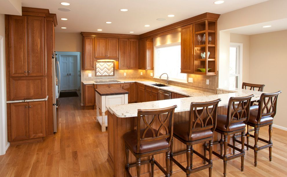 Hyde Park Lumber for a Transitional Kitchen with a Open Concept and Before and After by Hyde Park Lumber & Design