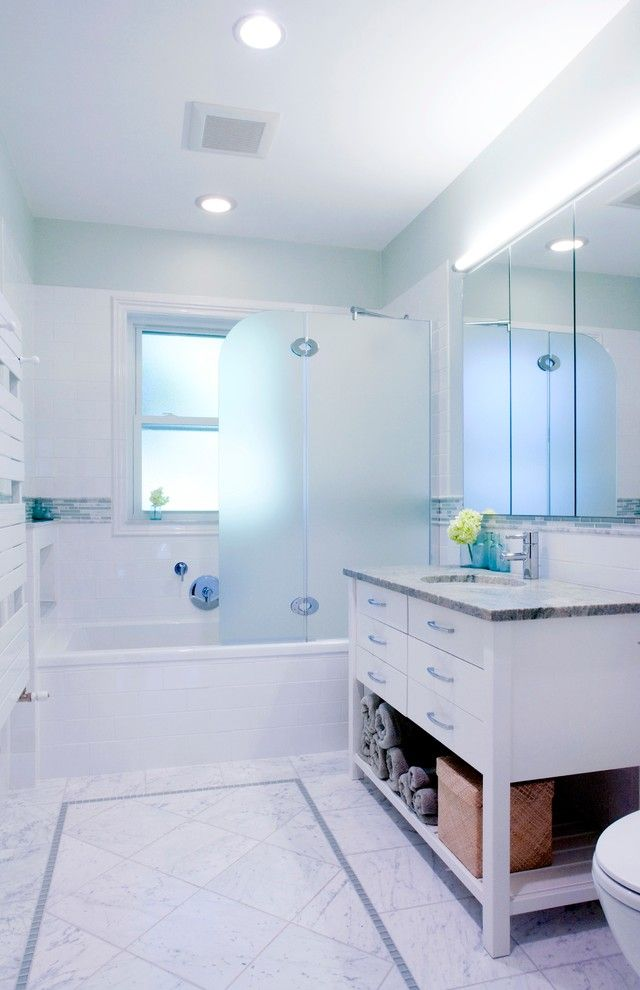 Hydrosystems for a Contemporary Bathroom with a White Vanity and Green Glass by Cw Design, Llc