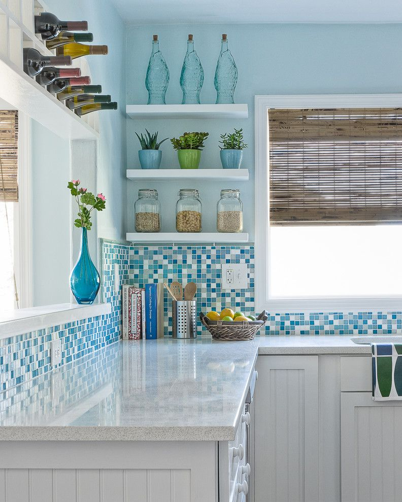Icestone for a Beach Style Kitchen with a Kitchen Shelves and Sabrina Alfin Interiors, Monterey Beach House by Dean J. Birinyi Photography