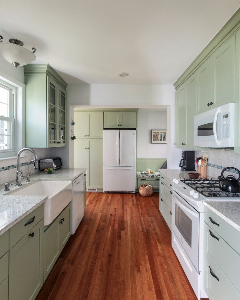 Icestone for a Traditional Kitchen with a Light Green Cabinets and Washington D.c.   Green Transitional Kitchen by Envirohomedesign Llc