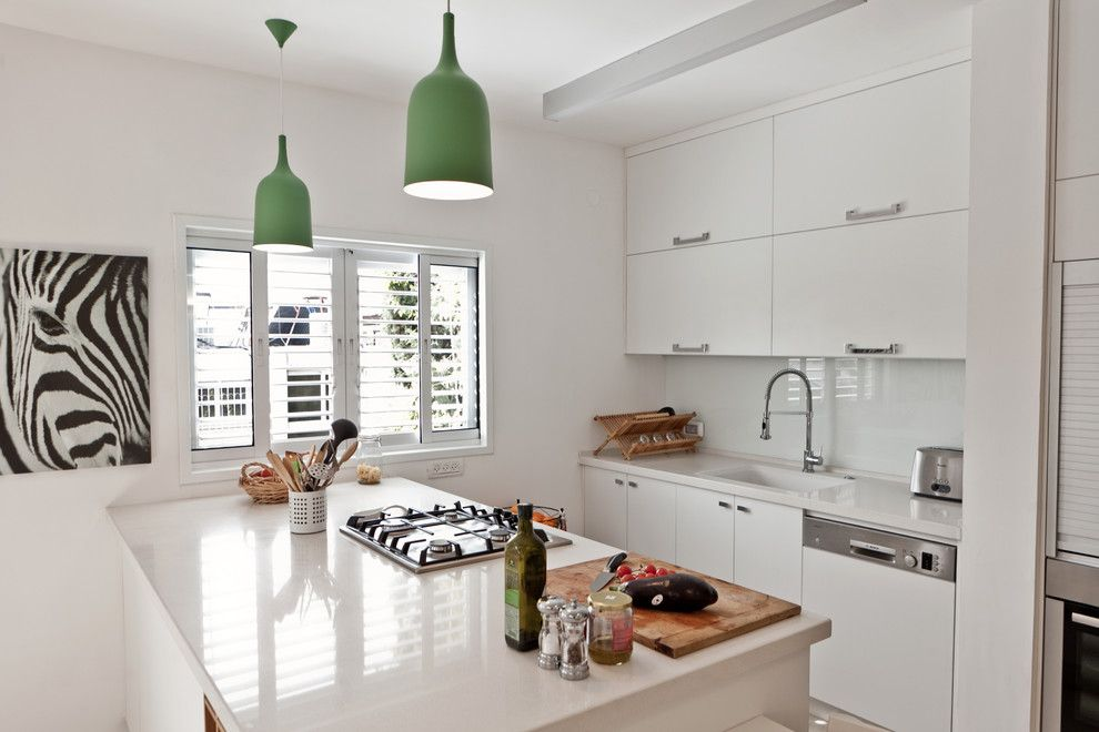 Ikea Akurum for a Contemporary Kitchen with a Green Pendant Lights and Apartment   Hadar Yosef ,Tel Aviv by Sk Designers   Shimrit Kaufman