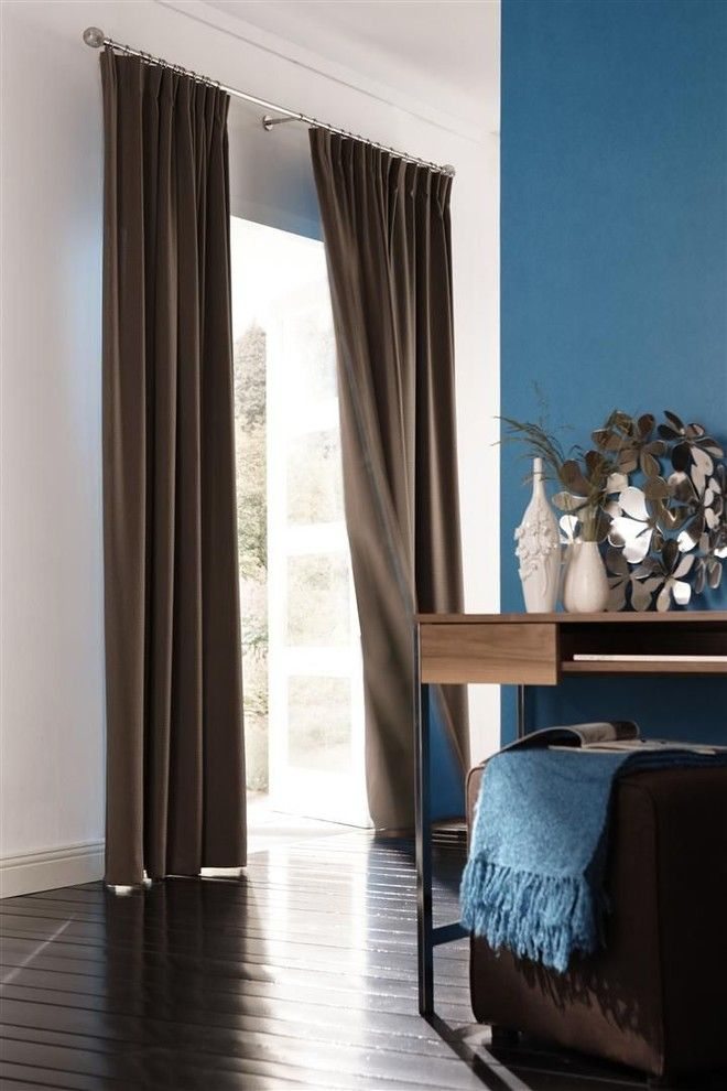 Ikea Bedroom Ideas for a Contemporary Bedroom with a Brown Curtains and Panel Drapes From Budget Blinds by Budget Blinds