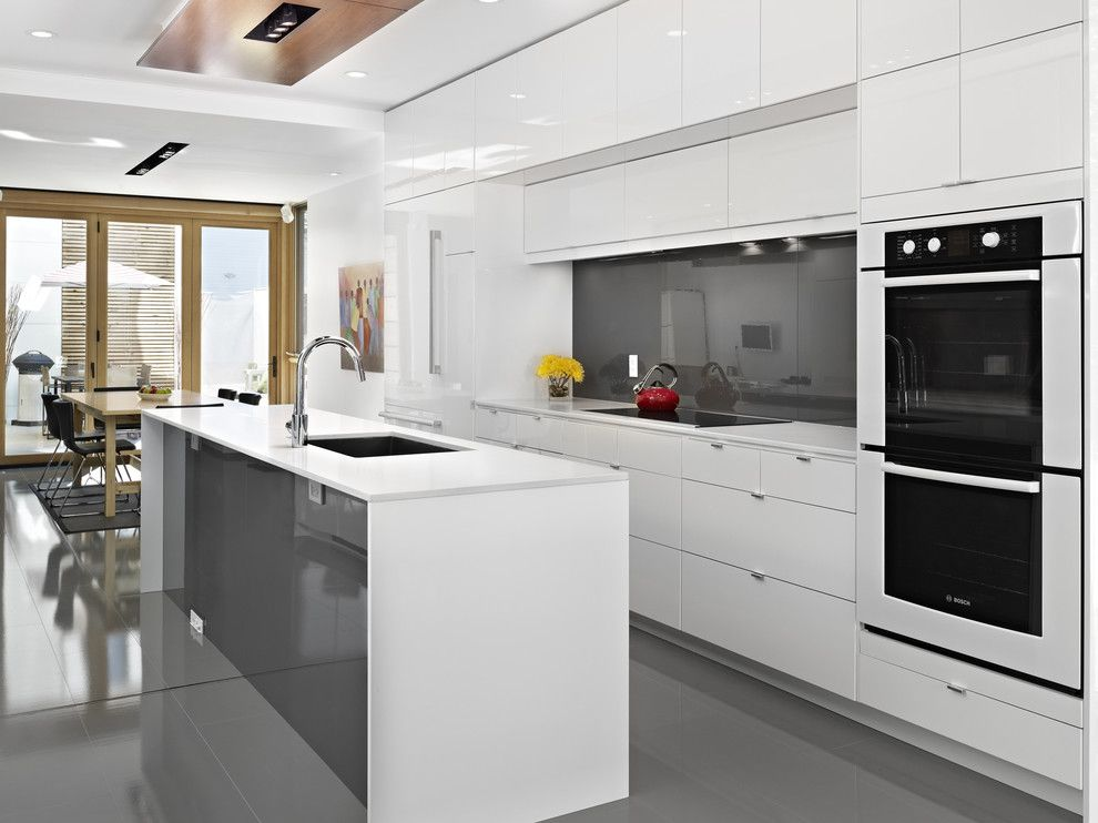 Ikea Besta Cabinet for a Contemporary Kitchen with a Glossy Kitchen and Lg House   Kitchen by Thirdstone Inc. [^]