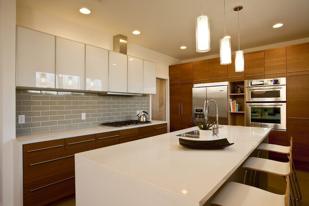 Ikea Besta Cabinet for a Contemporary Kitchen with a White Kitchen and Garner by Don Harris, Architect