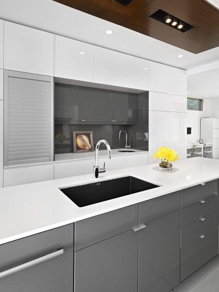 Ikea Besta Cabinet for a Modern Kitchen with a Bar Kitchen Sink and Lg House   Kitchen by Thirdstone Inc. [^]