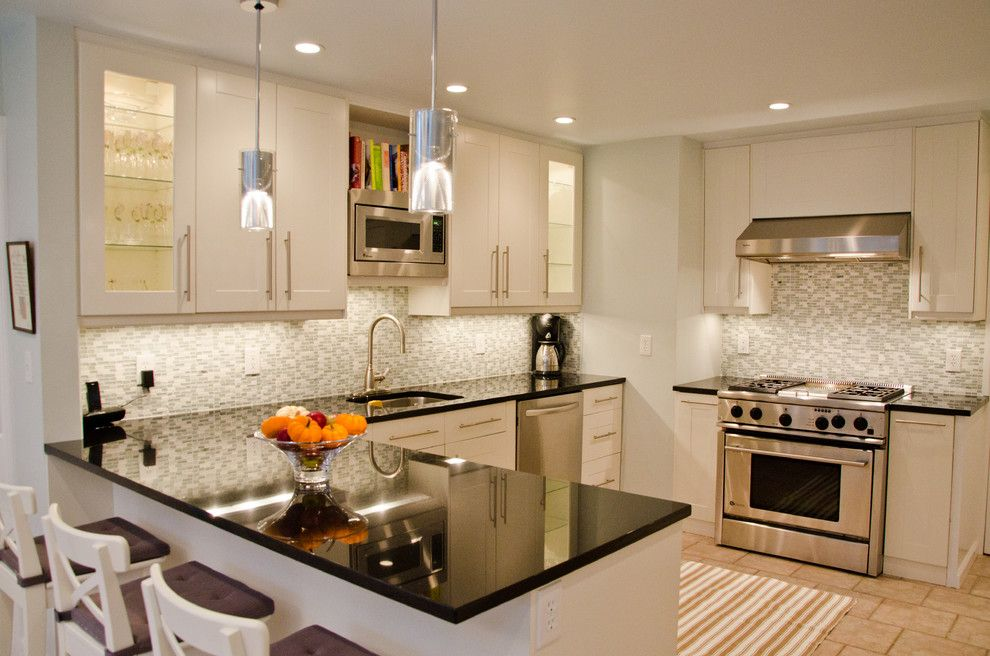 Ikea Besta Cabinet for a Transitional Kitchen with a L Shaped Kitchen and Devereux Residence by Rajni Alex Design