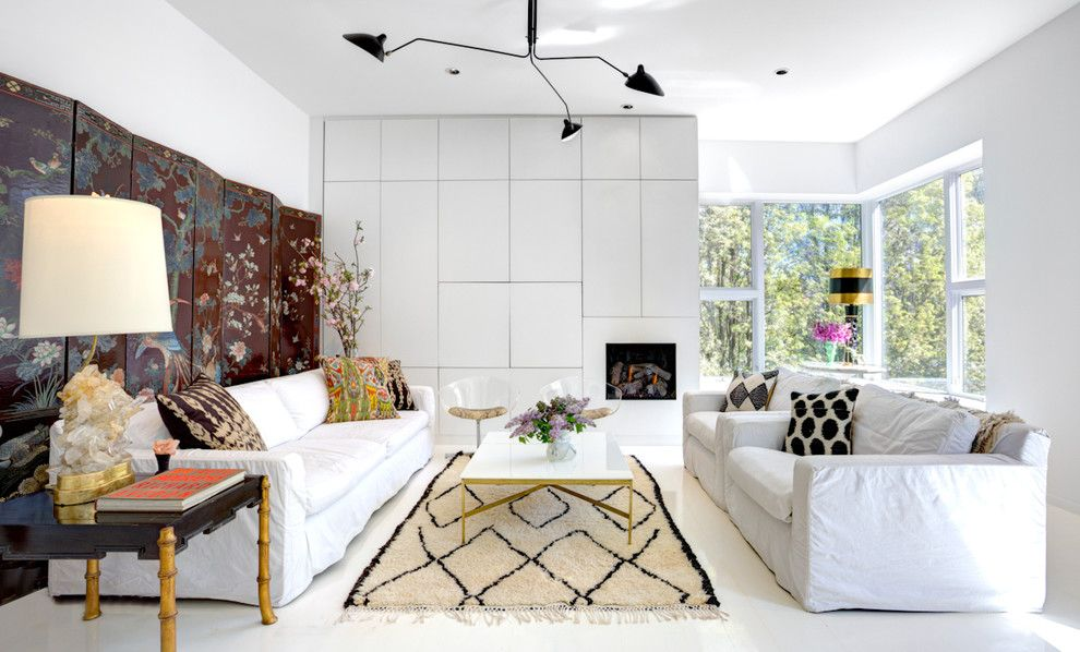 Ikea Besta for a Contemporary Living Room with a Slipcovers and Modern Single Family Home by Leslie Glazier @ Properties