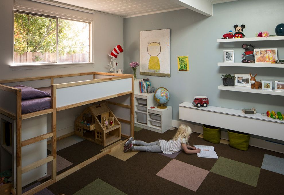 Ikea Besta for a Midcentury Kids with a Carpet Tiles and Eichler in Marinwood by Building Lab, Inc.
