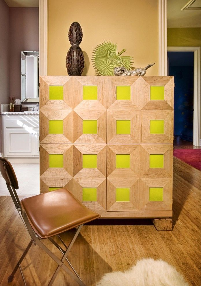 Ikea Besta Planner for a Contemporary Home Office with a Mid Century Modern and Home Office Cabinet in Guestroom in Sonoma Residence by Adeeni Design Group