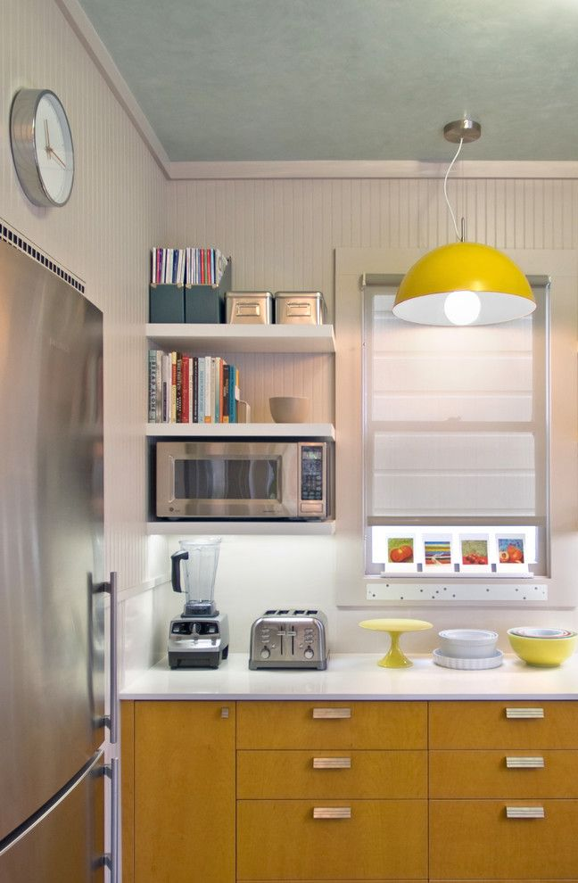 Ikea Besta Shelf for a Contemporary Kitchen with a White Countertop and San Francisco Kitchen Redux by Justrich Design