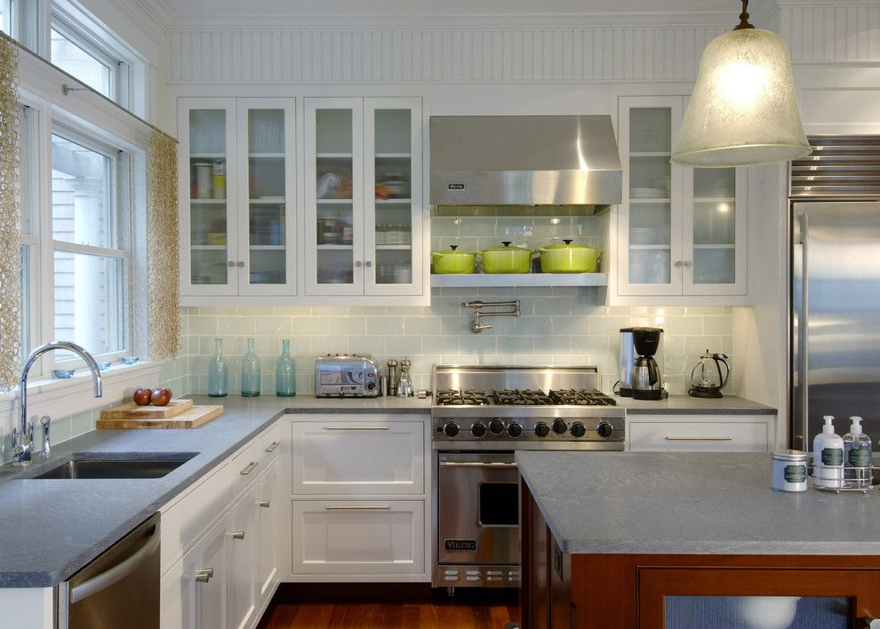 Ikea Besta Shelf for a Transitional Kitchen with a Double Window and Tidal Marsh by Siemasko + Verbridge