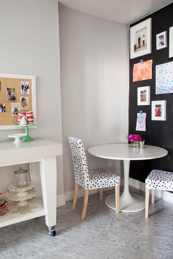 Ikea Bjursta Table for a Eclectic Dining Room with a Dalmation and Philadelphia Penthouse by Caitlin Wilson Design