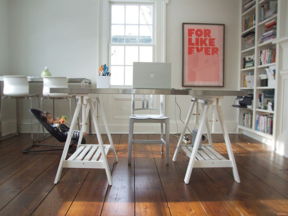Ikea Bjursta Table for a Eclectic Home Office with a Trestle Desk and Office by Lisa Fyfe