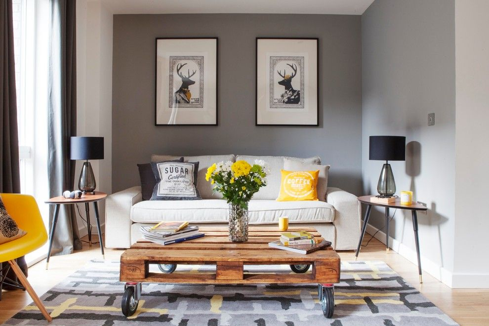 Ikea Bjursta Table for a Transitional Living Room with a Yellow and Bermondsey House by Studio Morton