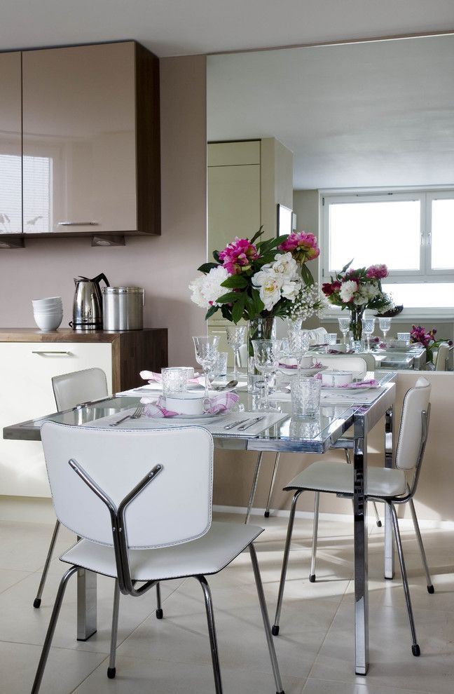 Ikea Changing Table for a Contemporary Dining Room with a Table Setting and Small Chelsea Apartment by Celia James