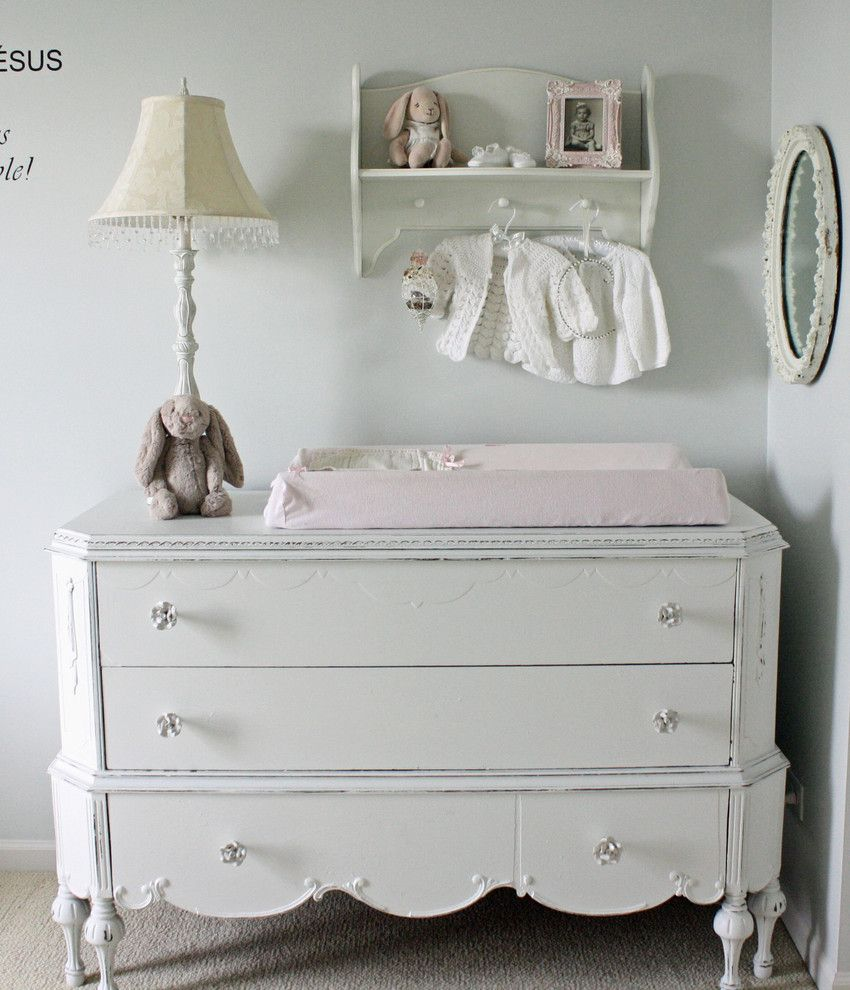 Ikea Changing Table for a Shabby Chic Style Nursery with a Shabby Chic and Eclectic Kids by Frenchlarkspur.blogspot.com