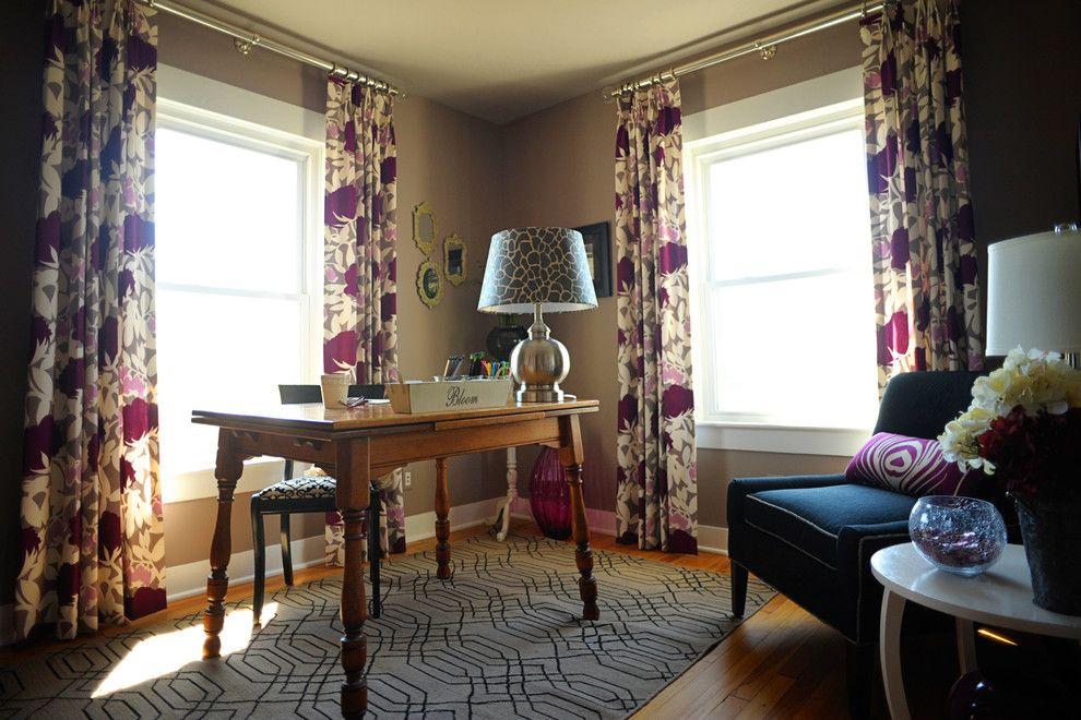Ikea Curtain Rods for a Contemporary Home Office with a Curtain Rods and Home Office by April Force Pardoe Interiors