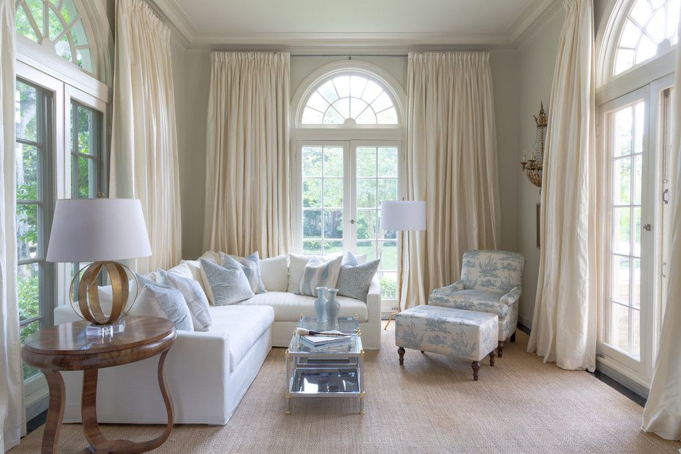 Ikea Curtain Rods for a Traditional Living Room with a Glass Top Coffee Table and Rivers Spencer Interiors by Rivers Spencer Interiors