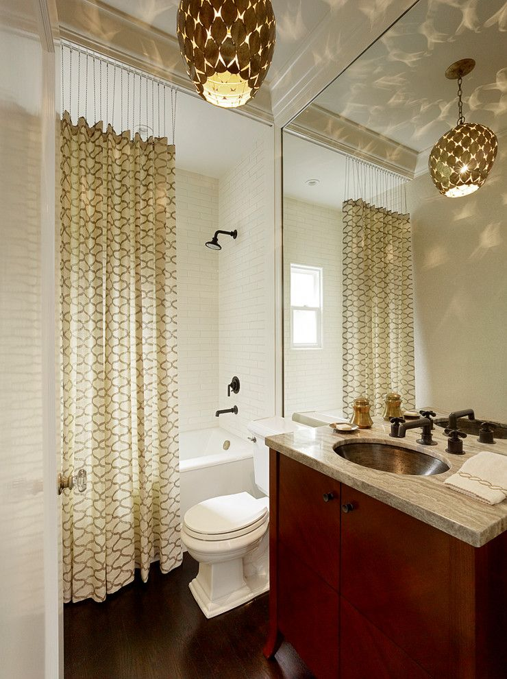 Ikea Curtain Rods for a Transitional Bathroom with a Shower Above Tub and Palo Alto Remodel by Kathleen Bost Architecture + Design
