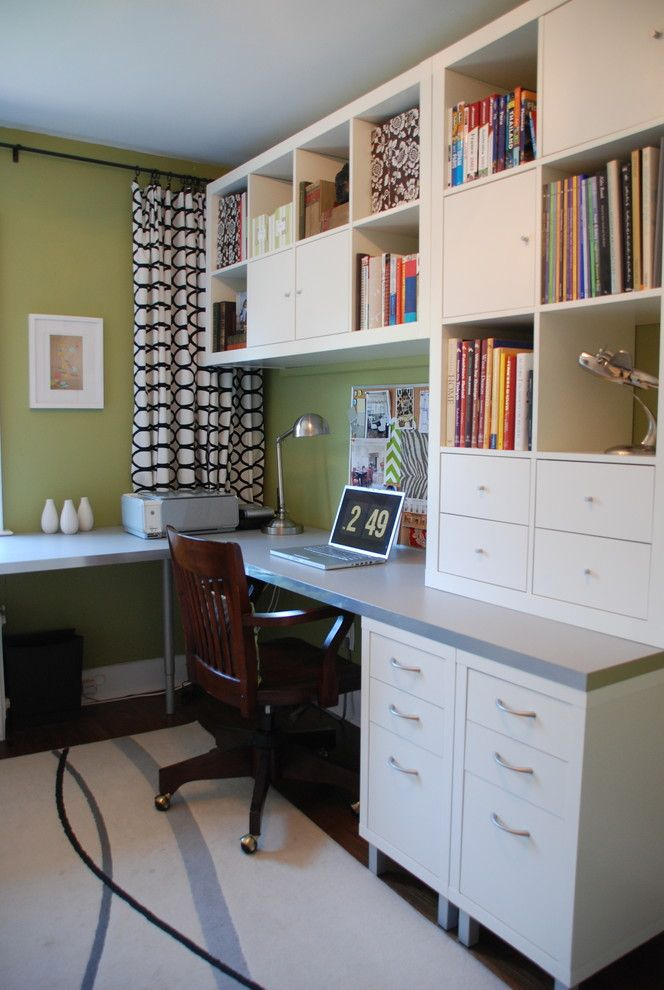 Ikea Desk Hack for a Contemporary Home Office with a Area Rug and Bright Green Office by Jennifer   Rambling Renovators