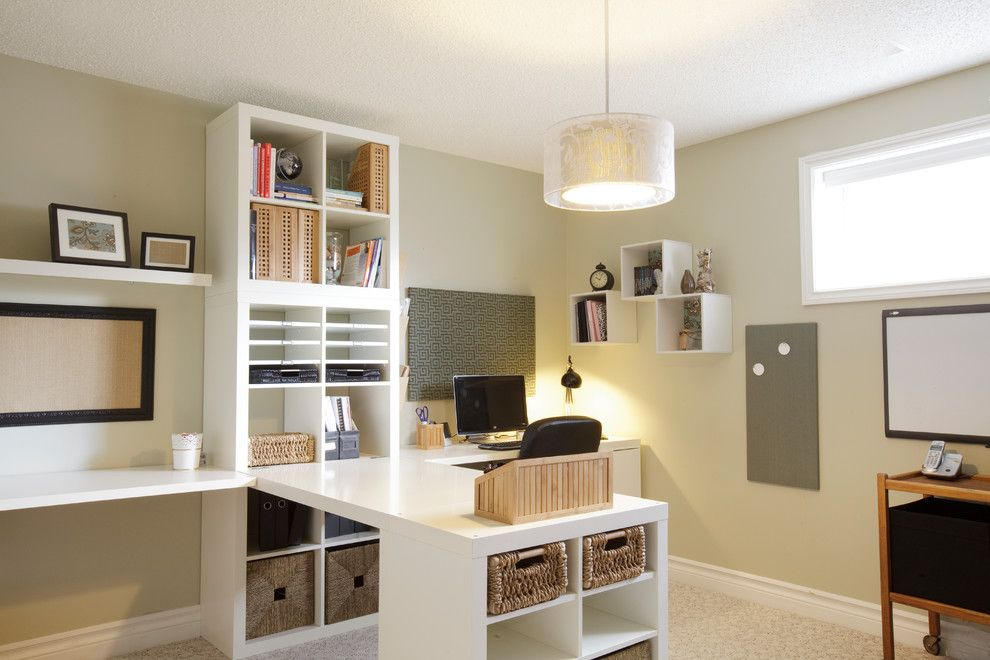 Ikea Desk Hack for a Traditional Home Office with a Wicker Basket and Home Office by Niche Redesign