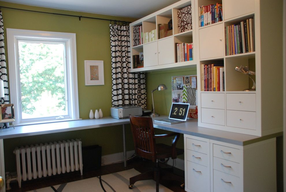 ikea desk hack for a transitional home office with a bulletin board and bright green office