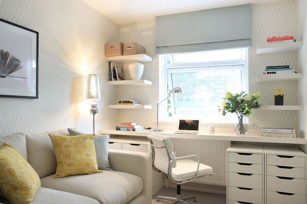 Ikea Desk Hack for a Transitional Home Office with a Filing Drawers and London Apartment for Lli Design by Alex Maguire Photography