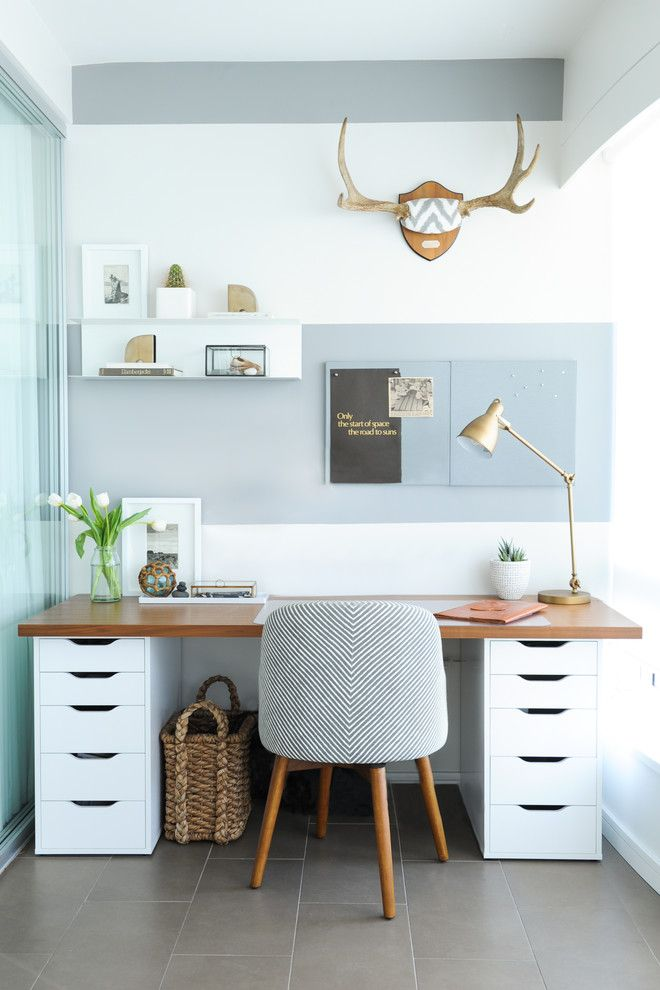 Ikea Desk Hack for a Transitional Home Office with a Grey and White and Water Front Condo by Shift Interiors