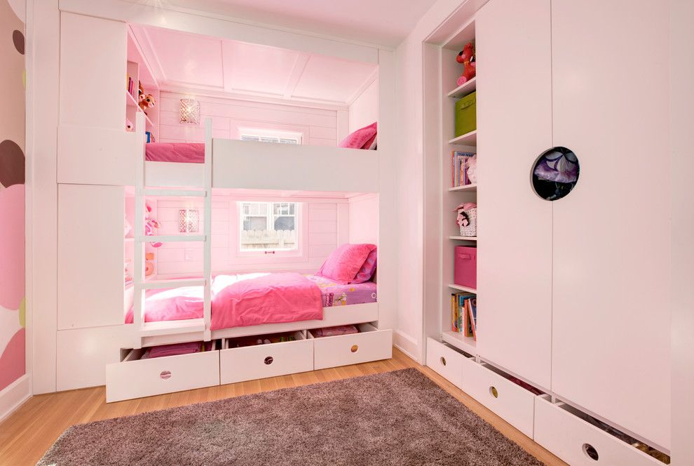 Ikea Hemnes Bed for a Modern Kids with a White Armoire and Kids' Custom Bunk Room by Haus | Architecture for Modern Lifestyles