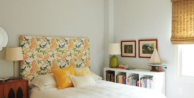 Ikea Hemnes for a Eclectic Bedroom with a Pale Blue Walls and Annie Elliott's Color Splashed Home in DC by Nicole Crowder Photography