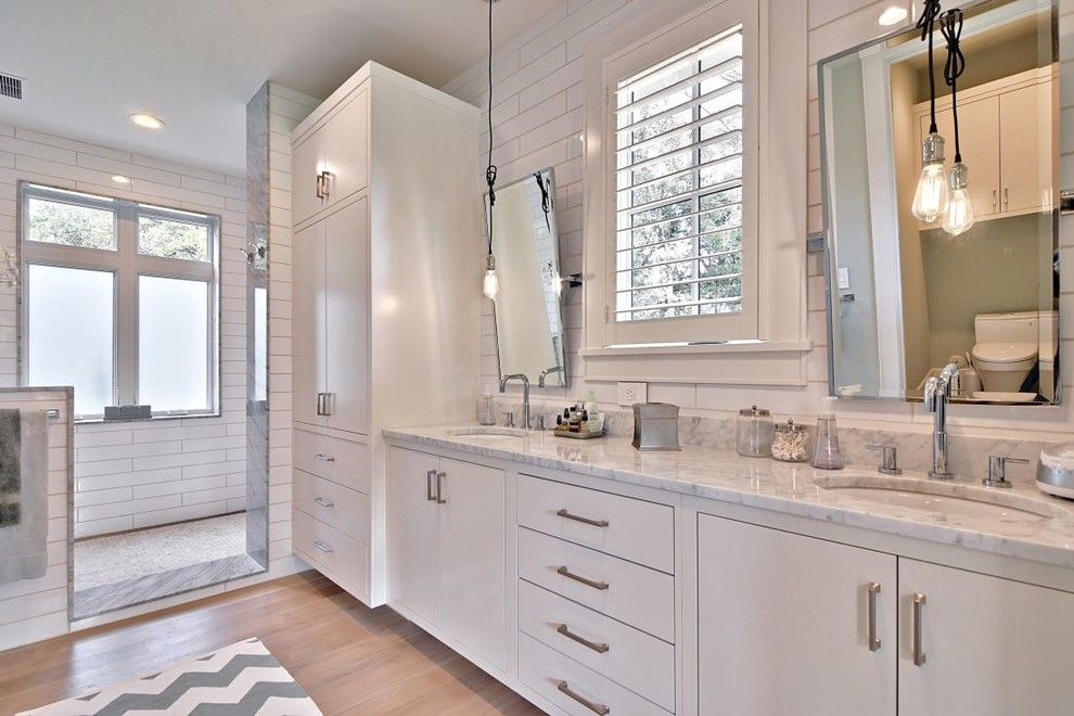 Ikea Hemnes for a Farmhouse Bathroom with a Mirrors and Modern Farmhouse by Tim Brown Architecture