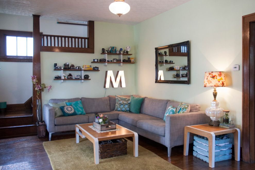 Ikea Karlstad for a Eclectic Living Room with a Marquee Letter and Chelsea + Kiel: Columbus, Ohio by Adrienne Derosa