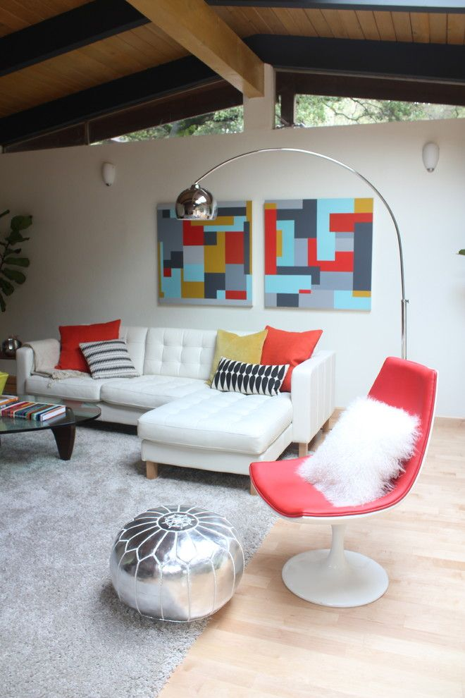 Ikea Karlstad for a Modern Living Room with a Arc Lamp and Mid Century Mix by Visual Jill Interior Decorating