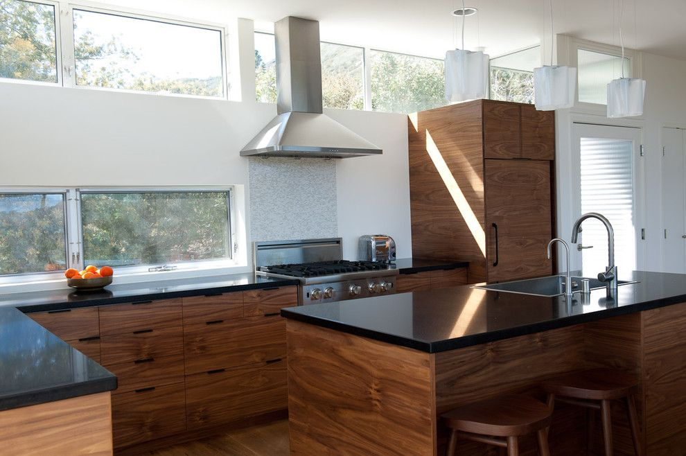 Ikea Kitchen Planner for a Contemporary Kitchen with a Range Hood and Walnut IKEA Kitchen by Semihandmade