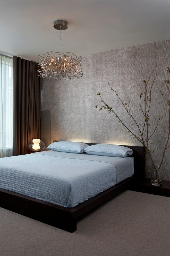 Ikea Kura Bed for a Contemporary Bedroom with a Beige Carpet and Modern High Rise by Mia Rao Design