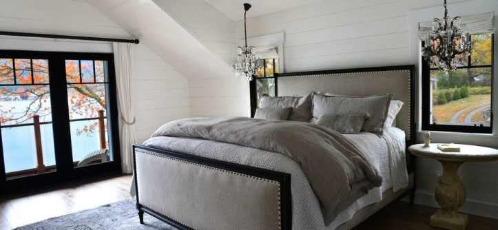 Ikea Kura Bed for a Farmhouse Bedroom with a Glass Chandelier and Lake Home by a Perfect Placement