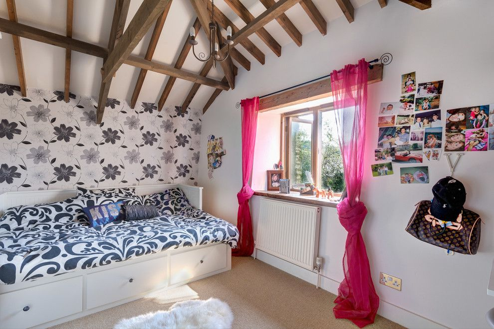 Ikea Malm Bed for a Contemporary Kids with a Wallpaper and the Secret Barns by Colin Cadle Photography