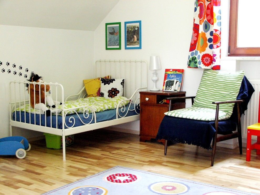 Ikea Malm Bed for a Shabby Chic Style Kids with a Bedside Table and Agata Winer by Praktyczne I Piękne