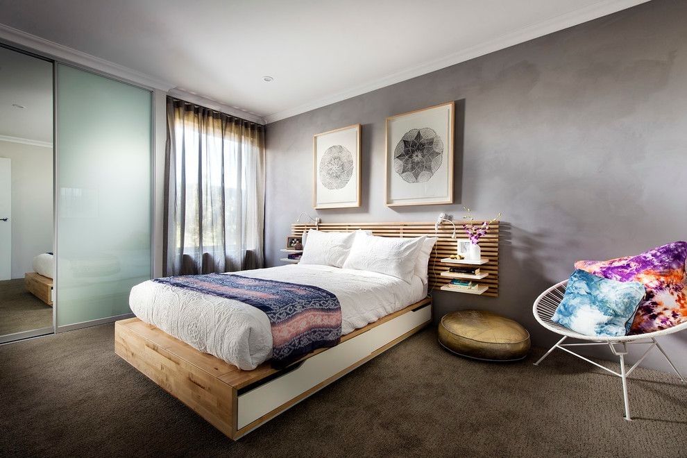 Ikea Mandal Bed for a Contemporary Bedroom with a Perth Display Homes and the Botanica by Dale Alcock Homes
