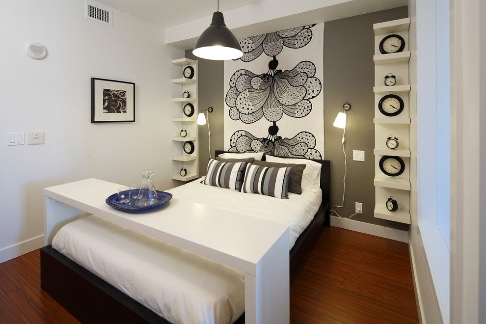 Ikea Mandal Bed for a Contemporary Bedroom with a Wall Mural and My First Place Studio Apartment, Calgary by I3 Design Group