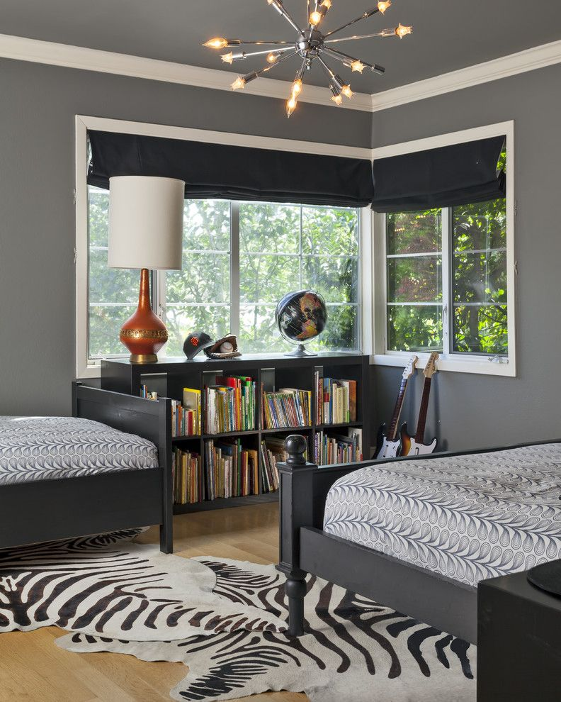 Ikea Mandal Bed for a Contemporary Kids with a Dark Walls and Contemporary Boys Bedroom by Holly Bender Interiors