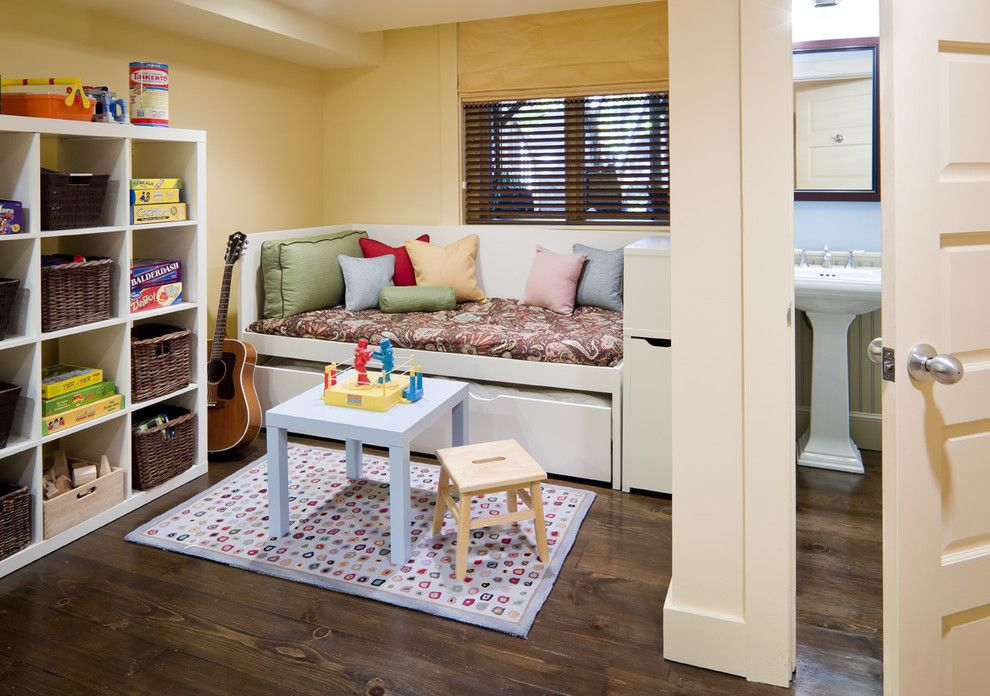 Ikea Mandal Bed for a Eclectic Kids with a Area Rug and Row House Interiors Play Area/guest Room by Lda Architecture & Interiors