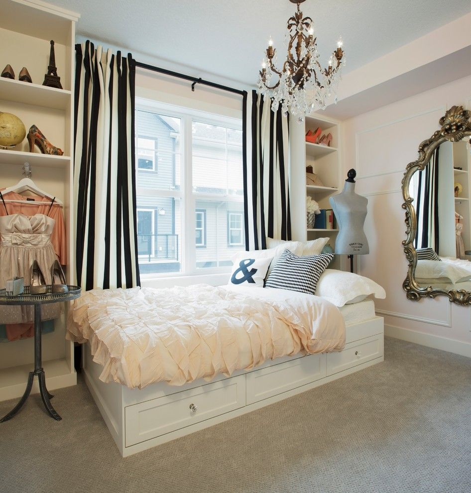 Ikea Mandal Bed for a Shabby Chic Style Bedroom with a Gilded Mirror and Howhome Decorated by Jillian Harrisarris by Brookfield Residential Yyc
