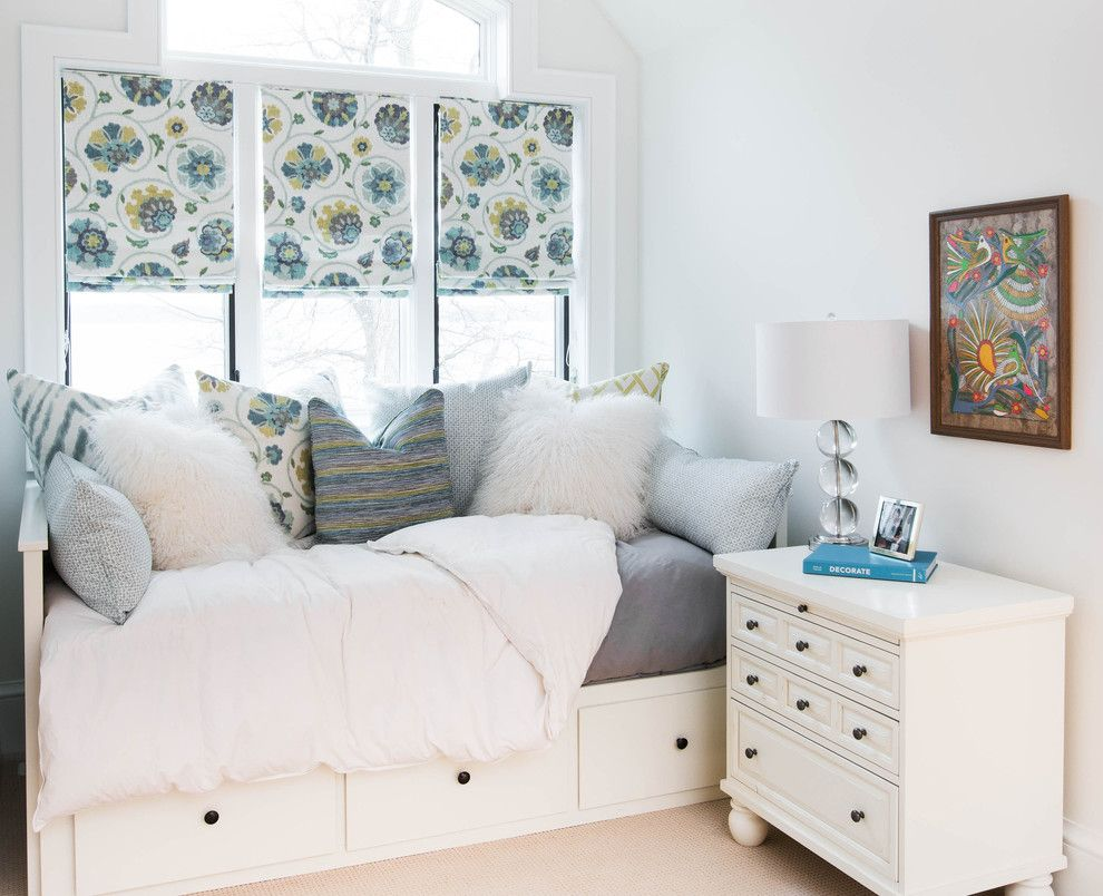 Ikea Mandal Bed for a Transitional Bedroom with a Bed Storage and Shanty Bay Lake House by Steffanie Gareau Interior Design